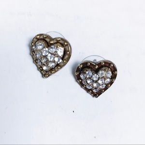Betsey Johnson - Gold Rhinestone Heart Earrings